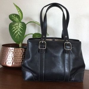 Coach Bags - EUC🌹COACH Sleek Black Leather Tote Shoulder Bag!